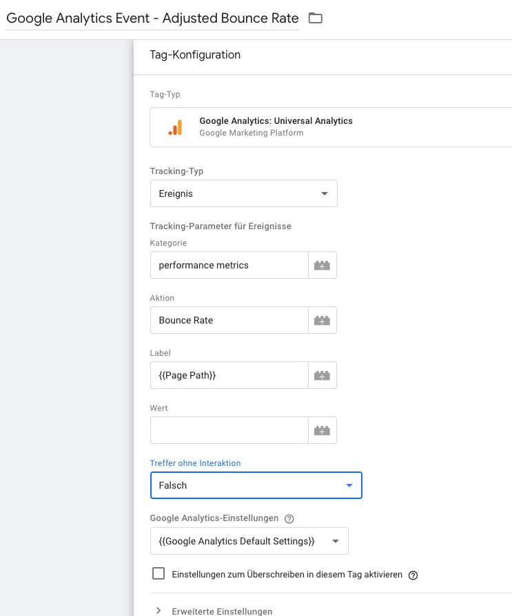 Setting tags for feedback to Google Analytics