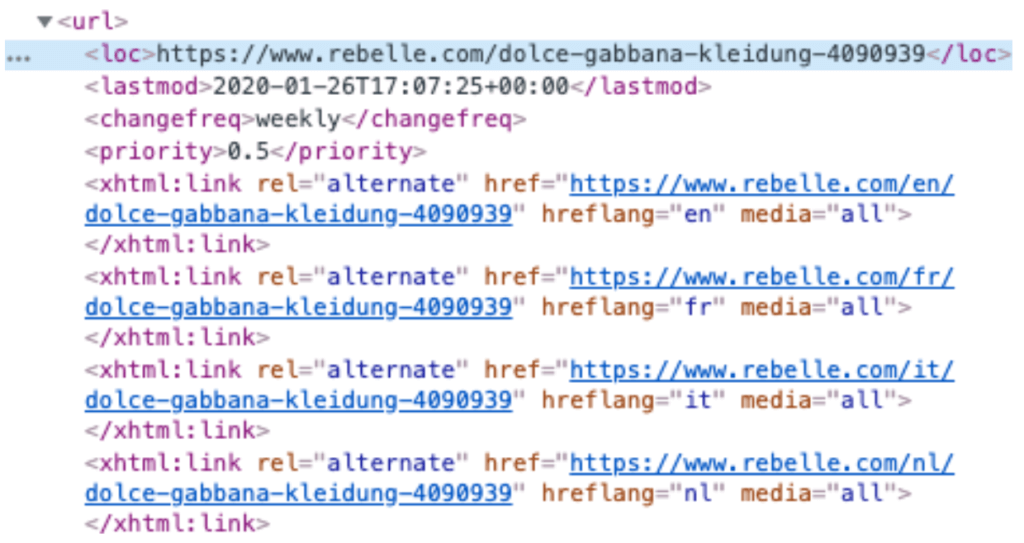 Hreflang Tags in der Sitemap