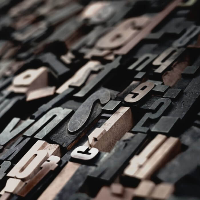 Alte Buchstaben für den Buchdruck