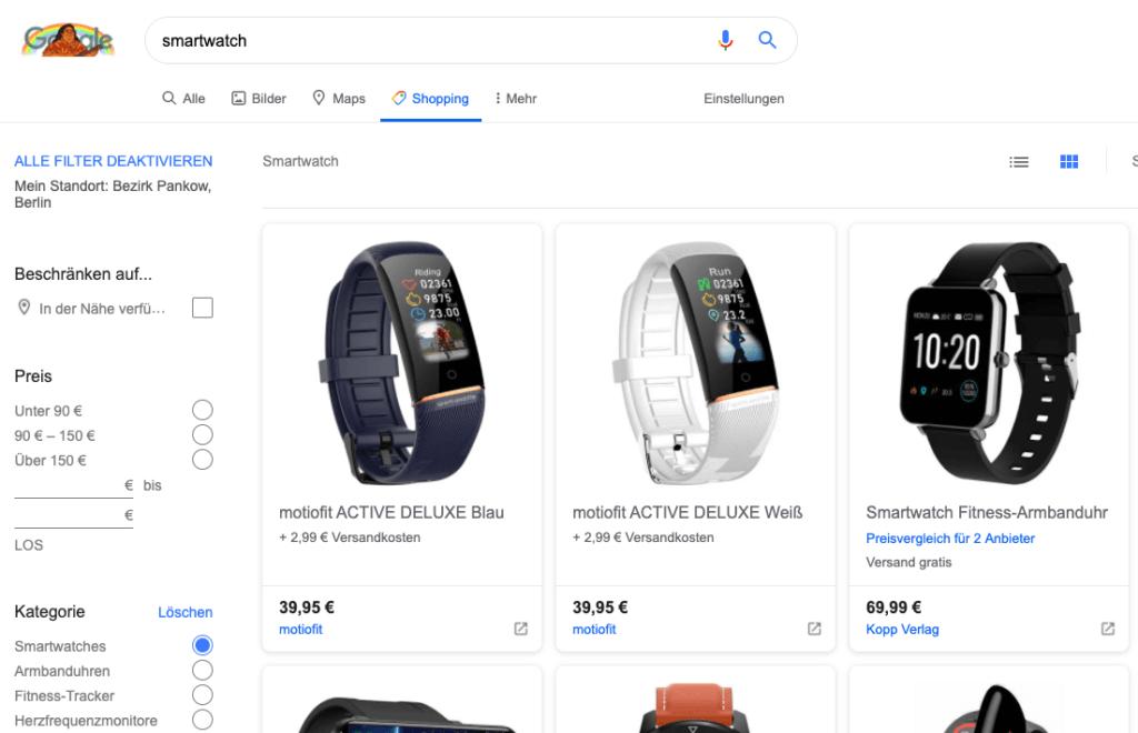 """Shopping Anzeigen inkl. Filtermöglichkeiten unter dem Google-Reiter """"Shopping"""""""