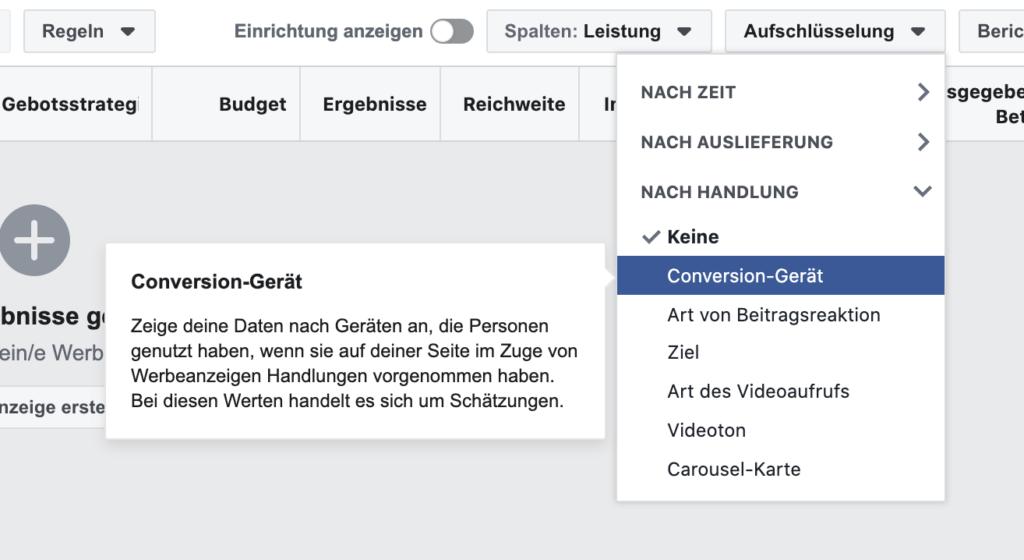 Aufschlüsselung Conversions nach Gerät in Facebook