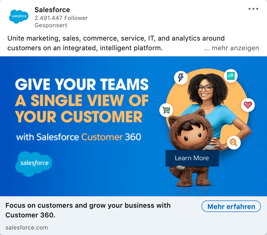 LinkedIn Ads, single image ad, text use, example: Salesforce
