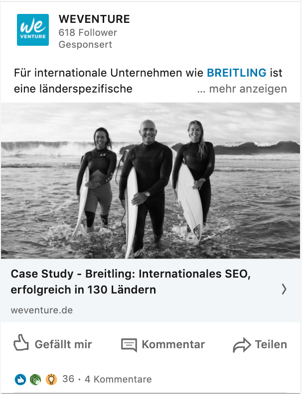 LinkedIn Ads Sponsored Content Single Image Ad Beispiel Querformat