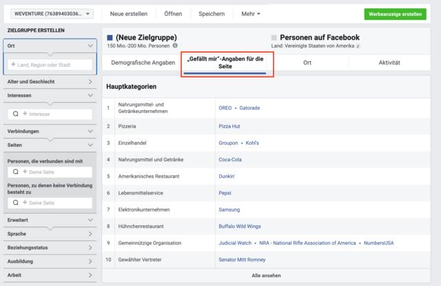 Facebook Audience Insights Schaltfläche
