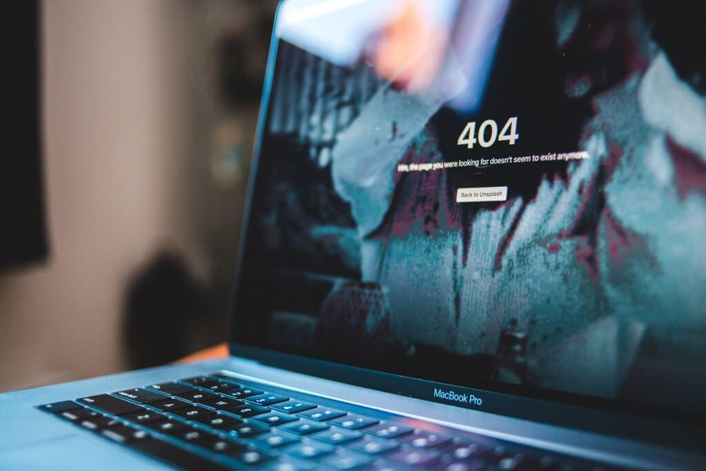 404-Fehlerseite auf einem Macbook Pro
