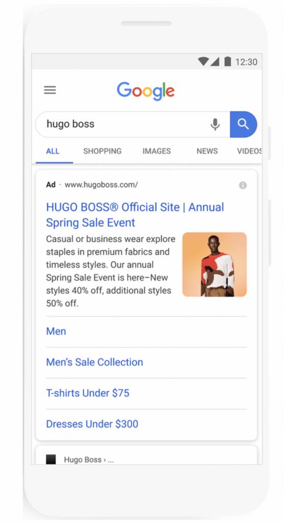Google Ads Bilderweiterung am Beispiel von Hugo Boss